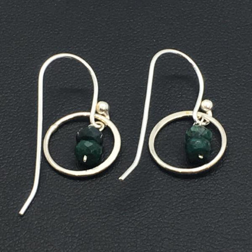 Sterling Silver Emerald Circle Dangle Earrings