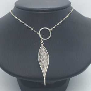 Sterling Silver Leaf Lariat Charm Necklace