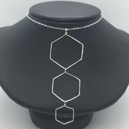 Sterling Silver Three Tiered Honeycomb Necklace