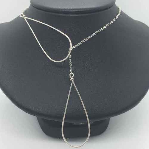 Sterling Silver Raindrop Lariat Necklace