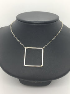 "Sterling Silver 18"" Square Necklace"