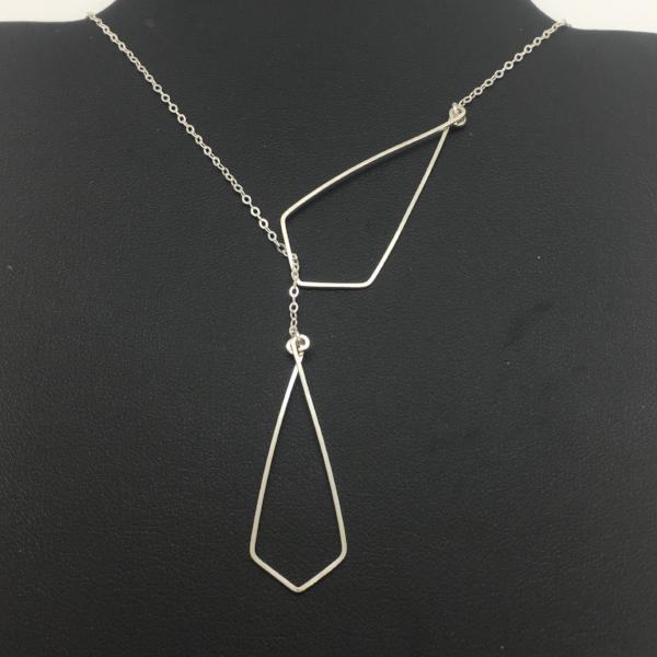 Sterling Silver Geo Lariat Necklace