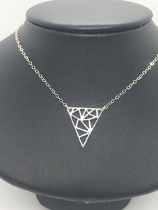 "Sterling Silver 18"" Triangle Cutout Necklace"