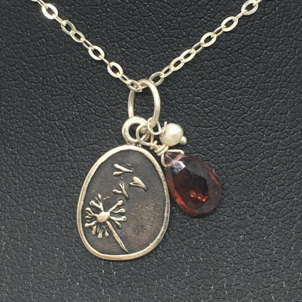 Sterling Silver Dandelion Charm Necklace