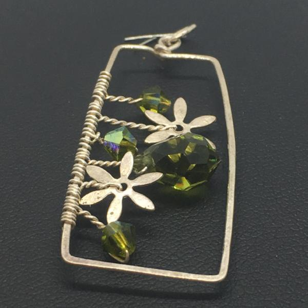 Sterling Silver Crystal Garden Rectangle Pendant