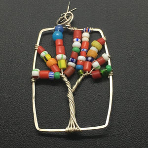 African Tree of Life Rectangle Pendant
