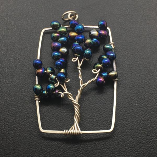 Midnight Tree of Life Rectangle Pendant