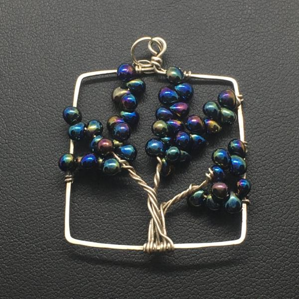 Midnight Tree of Life Square Pendant