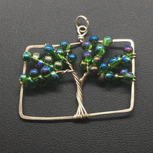 Emerald Tree of Life Rectangle Pendant