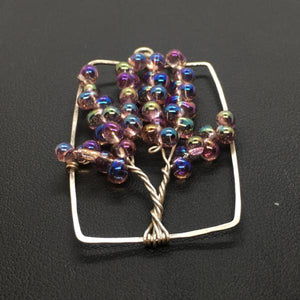 Plum Tree of Life Rectangle Pendant