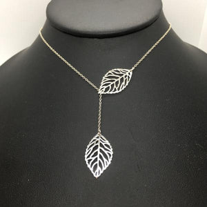 "Sterling Silver 18"" Skeleton Leaf Lariat Necklace"