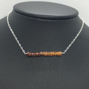 "Sterling Silver 18"" Orange Sapphire Bar Necklace"