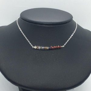 "Sterling Silver 18"" Gemstone Bar Necklace"