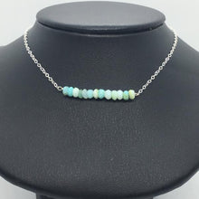 "Sterling Silver 18"" Opal Bar Necklace"