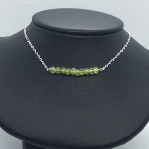 "Sterling Silver 18"" Peridot Bar Necklace"