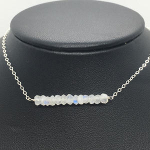 "Sterling Silver 18"" Rainbow Moonstone Bar Necklace"