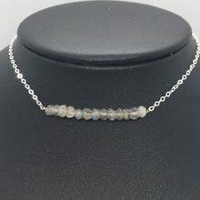 "Sterling Silver 18"" Labradorite Bar Necklace"