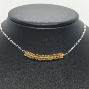 "Sterling Silver 18"" Citrine Bar Necklace"