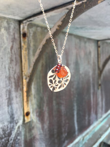 Sterling Silver Flower Charm Necklace