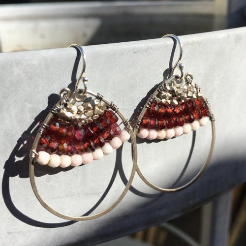 Boho Chic Sterling Silver Garnet Dangle Earrings