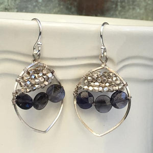 Boho Chic Sterling Silver Iolite Dangle Earrings