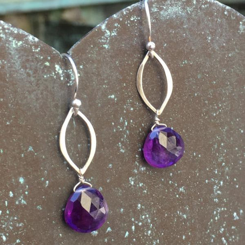 Sterling Silver Amethyst Dangle Earrings