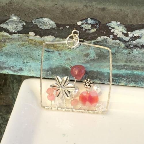 Sterling Silver Pink Gemstone Garden Square Pendant