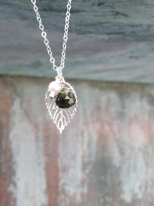 Sterling Silver Leaf Charm Necklace
