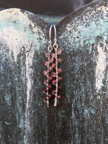 Sterling Silver Pink Tourmaline Seaweed Bud Earrings