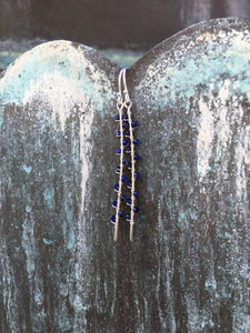 Sterling Silver Lapis Seaweed Bud Earrings