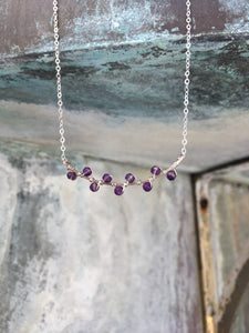 Sterling Silver Amethyst Seaweed Bud Necklace