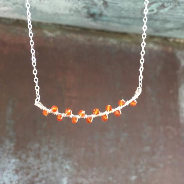 Sterling Silver Carnelian Seaweed Bud Necklace