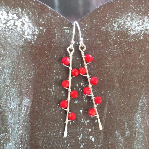 Sterling Silver Coral Seaweed Bud Earrings