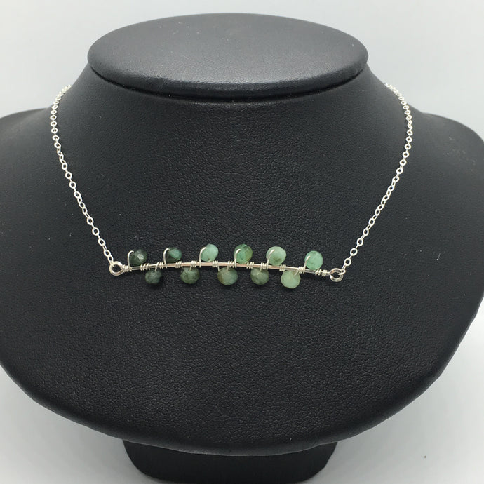 Sterling Silver Graded Emerald Seaweed Bud Necklace