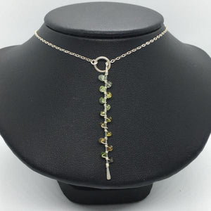 Sterling Silver Green Tourmaline Seaweed Bud Necklace