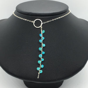 "Sterling Silver 18"" Turquoise Seaweed Lariat"