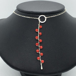 "Sterling Silver 18"" Coral Seaweed Lariat"