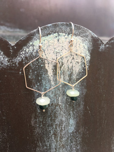 Sterling Silver Hexagon Dangle Earrings