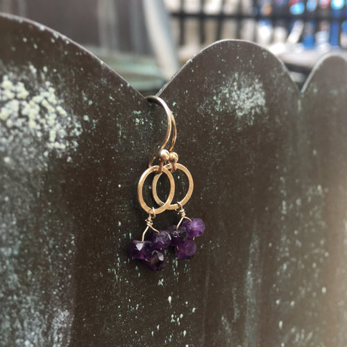 Sterling Silver Amethyst Circle Dangle Earrings