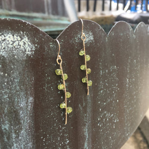 Sterling Silver Peridot Seaweed Bud Earrings