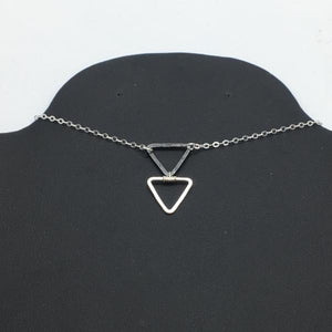 "Sterling Silver 18"" Mix Metal Triangle Necklace"