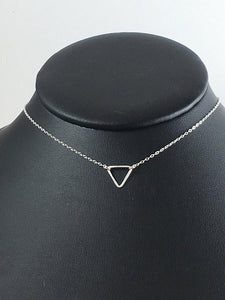 "Sterling Silver 18"" Triangle Necklace"