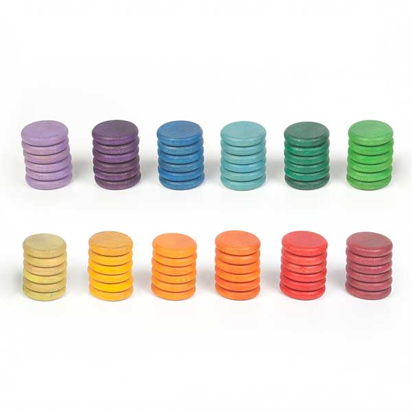 72 Wooden Coins in 12 Colors (Grapat)