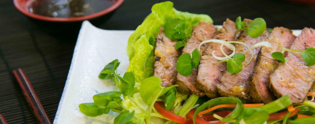 Peppered Beef Tataki with ginger dressing