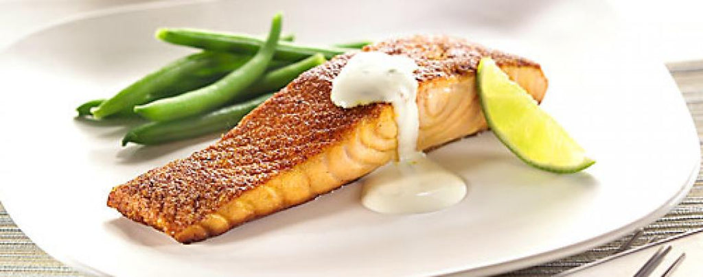 Spicy Atlantic Salmon with Lime and Coriander Mayonnaise