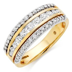 Three Row Wedding Ring With Round Stones In 3.00 Carat Total Weight.