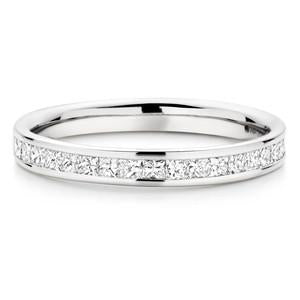 Princess Channel Setting Wedding Ring In 3.00 Carat Total Weight.