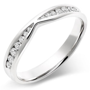 Choose in 14 Karat, 18 Karat or Platinum White Gold Diamond Shaped Wedding Ring