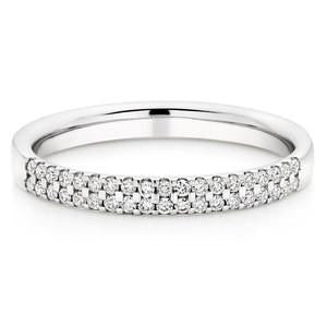 Double Row Wedding Ring With Round Stones In 1.00 Carat Total Weight.