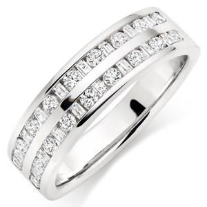 Double Row Wedding Ring Featuring Round And Baguette Stones In 2.00 Carat Total Weight.